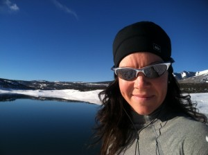 Running around Loyd's Lake near Monticello, UT. You can see just a bit of the Abajo mountains behind me.