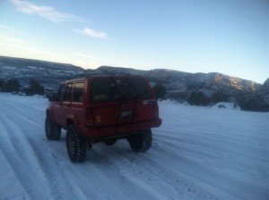 You and me goin' Jeepin' in the snow...