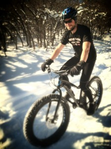 Dennis having a great time on the fat bike.