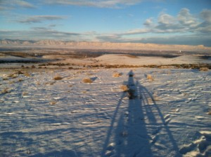 Shadowy figure, Bookcliffs in the background.