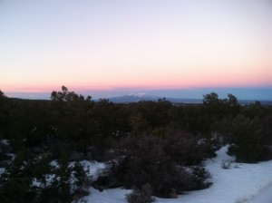 Pink sky over the La Sal Mountains