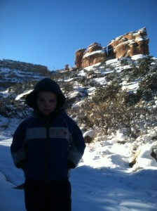 Connor being a little poster child for outdoor recreation.