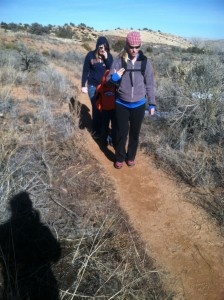 Rachel and Haley coming up the trail. Can't even tell she's prego, right?