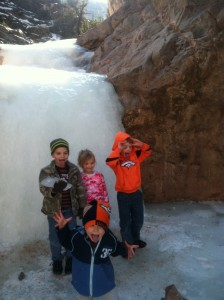 "Kids at the frozen first pool. This is their ""funny faces"" pose."