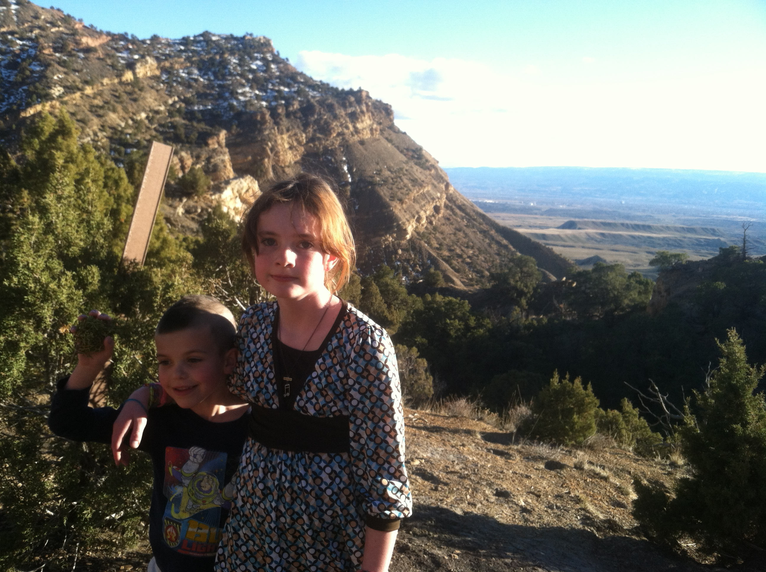Connor and Trin with the valley in the back.