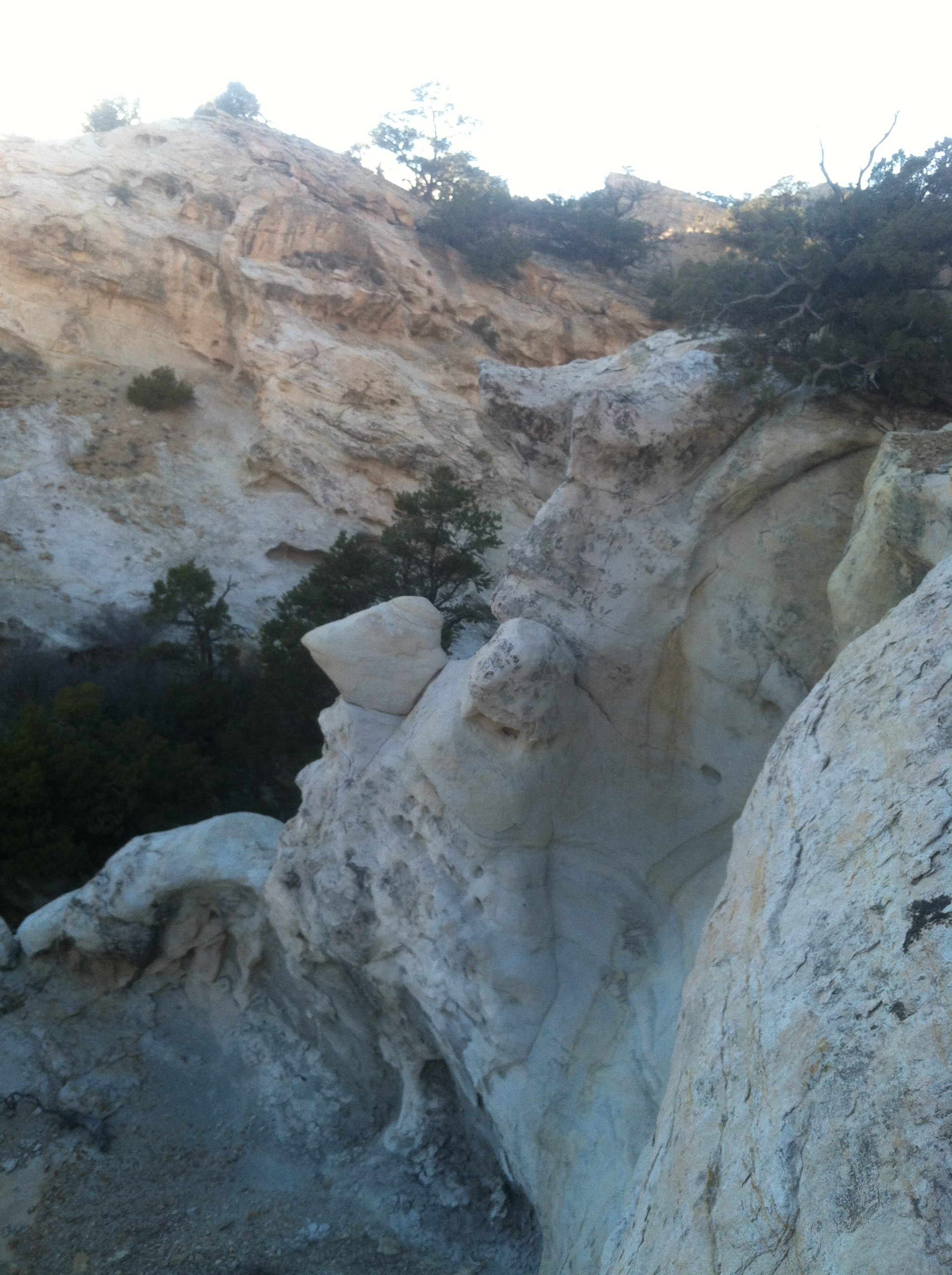 Again, another weird section of terrain- this white rock that has  been sculpted by water.