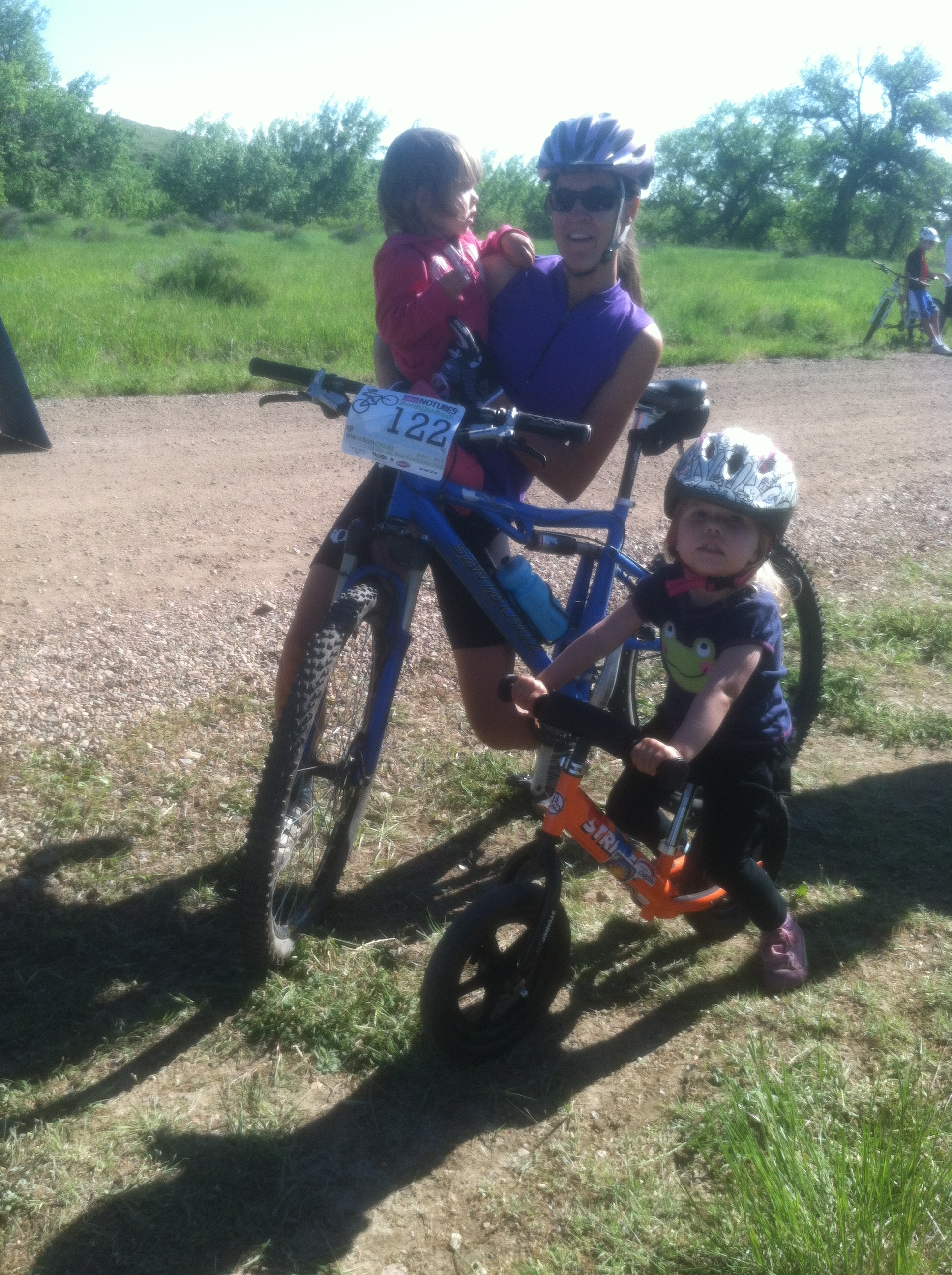 This woman encapsulated the event- pushing her bike, with one kid on her arm and the other next to her. Mommies race, too!
