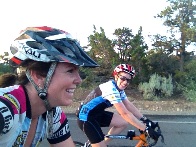Melinda, laughing at me taking a selfie while riding.