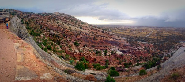 Hiking Serpent's trail Colorado National Monument, Grand Junction, Colorado Panorama in rain
