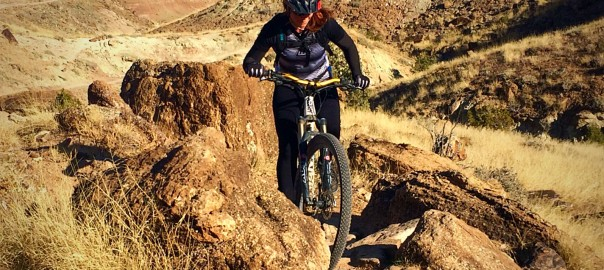 Elisa Jones mountain biking up pet-e-kes trail grand junction, colorado