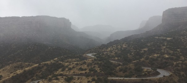 No thoroughfare canyon and rim rock road east switchbacks in rainstorm trails365
