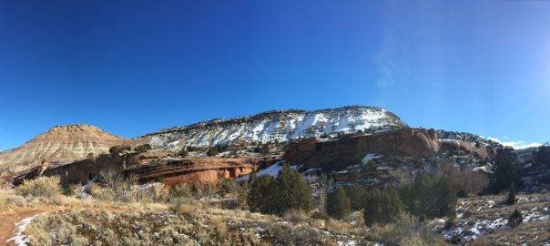 Echo Canyon Colorado National Monument in winter panorama