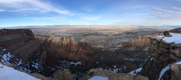 panoramic view from Window Rock, Colorado National Monument in winter