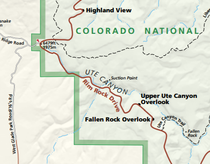 Suction Point as it lies on the official colorado national monument map